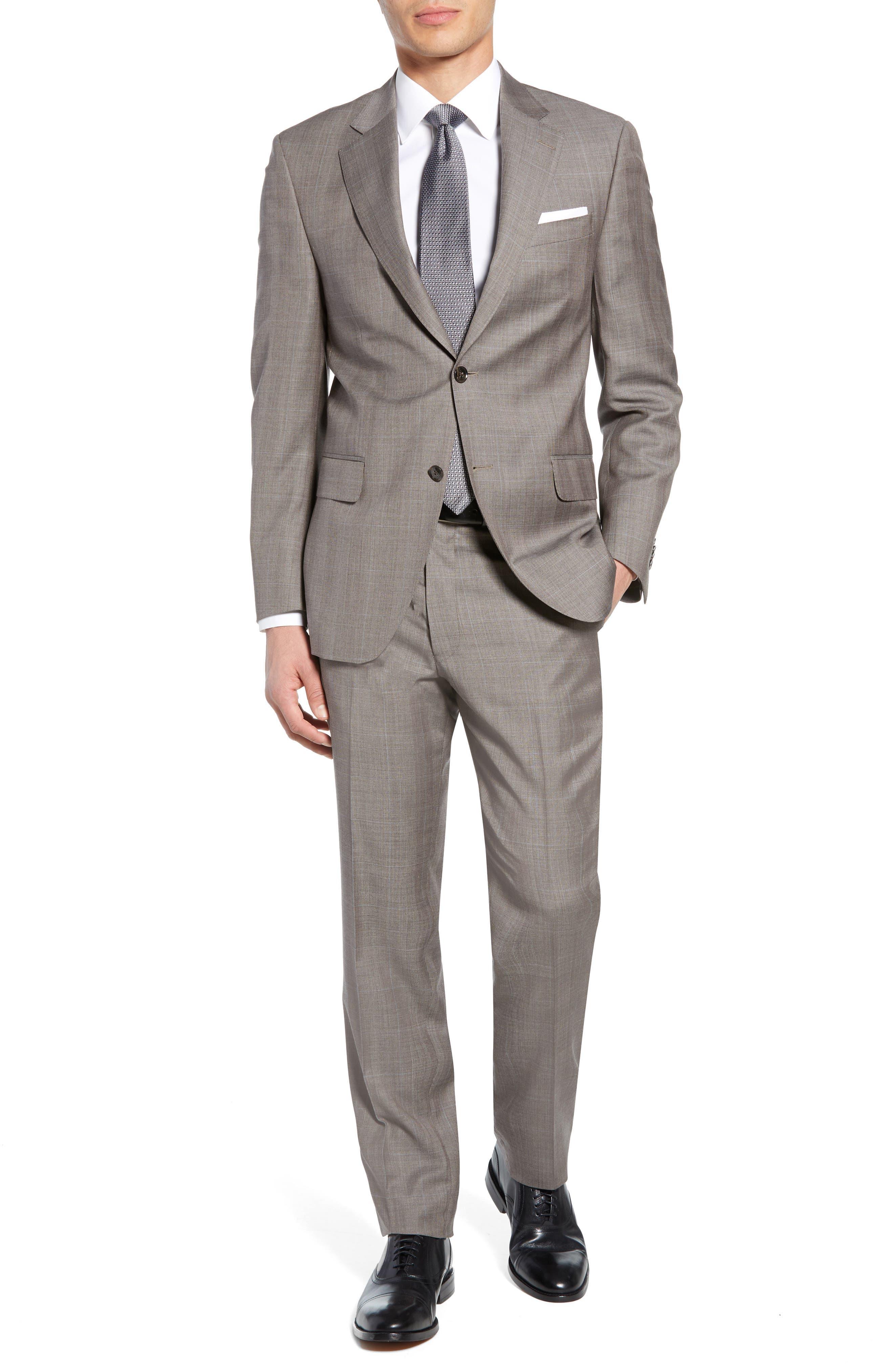 ,                             Flynn Classic Fit Windowpane Wool Suit,                             Main thumbnail 1, color,                             TAN
