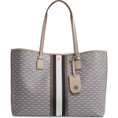 Tory Burch Gemini Link Coated Canvas Tote - Grey
