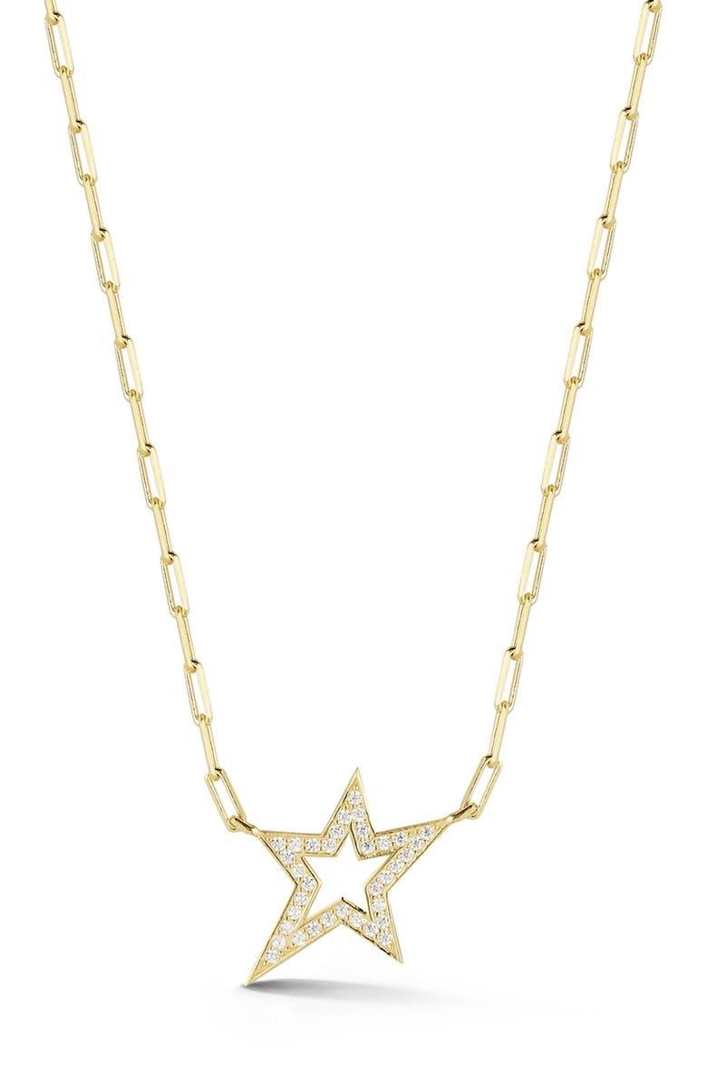 SPHERA MILANO Gold Vermeil Star CZ Necklace, Main, color, GOLD