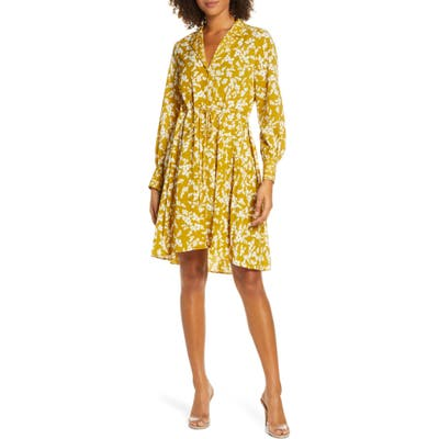 French Connection Bruna Floral Long Sleeve Dress, Yellow