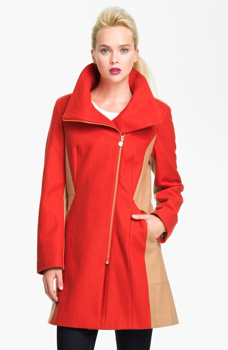 CALVIN KLEIN Two Tone Asymmetrical Walking Coat, Main, color, 800