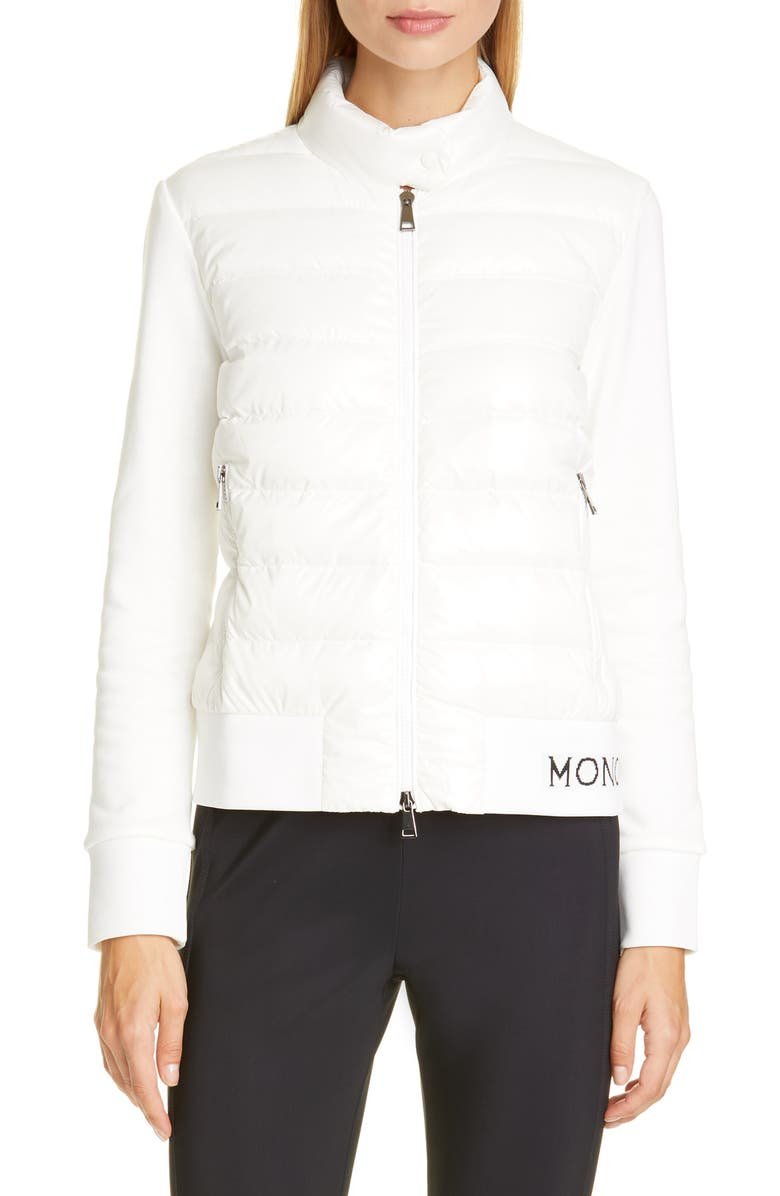 MONCLER Lacquered Quilted Down Front Sweatshirt, Main, color, WHITE