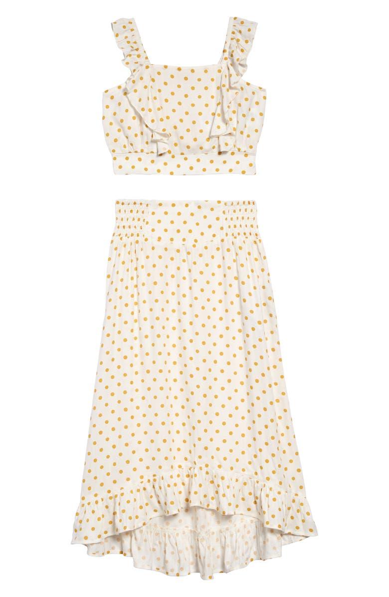 BILLABONG Paired Up Polka Dot Crop Top & Midi Skirt Set, Main, color, 900