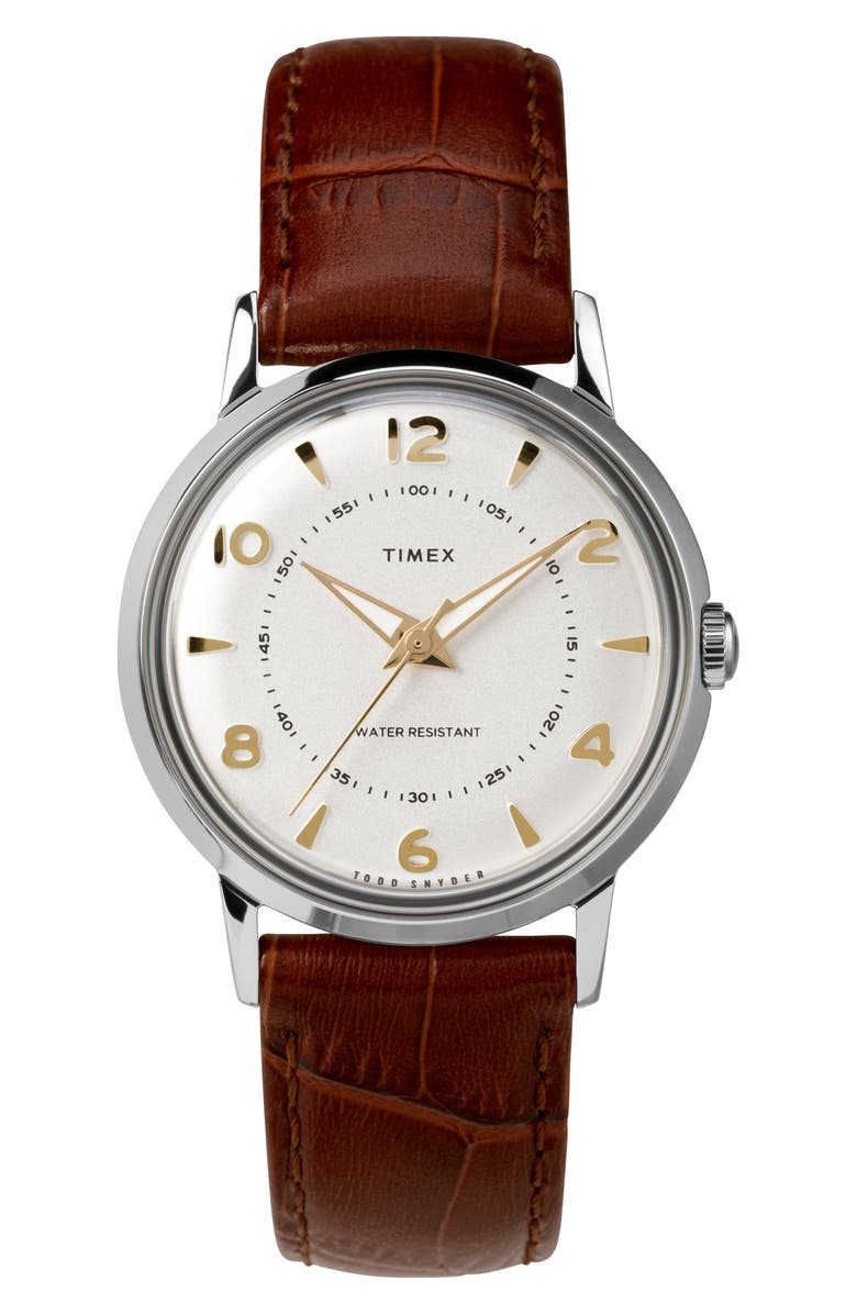 TIMEX<SUP>®</SUP> x Todd Snyder Welton Leather Strap Watch, 34mm, Main, color, BROWN/ WHITE/ SILVER