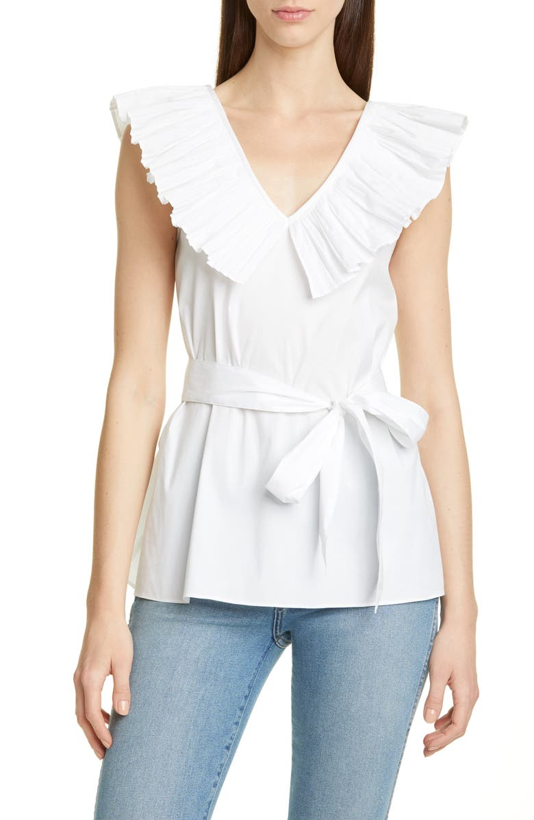 Ruffle Neck Tie Waist Top by Kate Spade New York