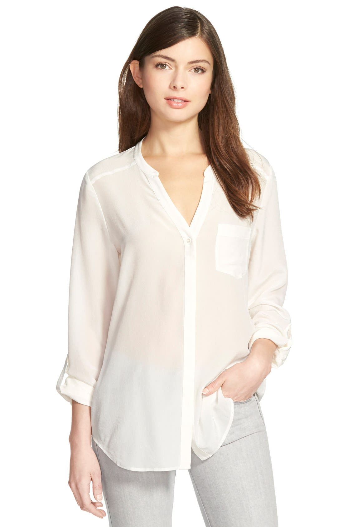 ,                             Collarless Silk Blouse,                             Main thumbnail 26, color,                             101