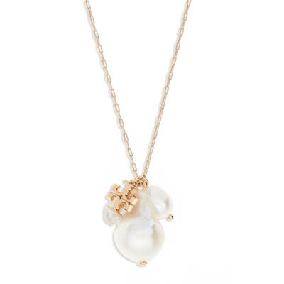 Tory Burch Kira Genuine Pearl Cluster Pendant Necklace