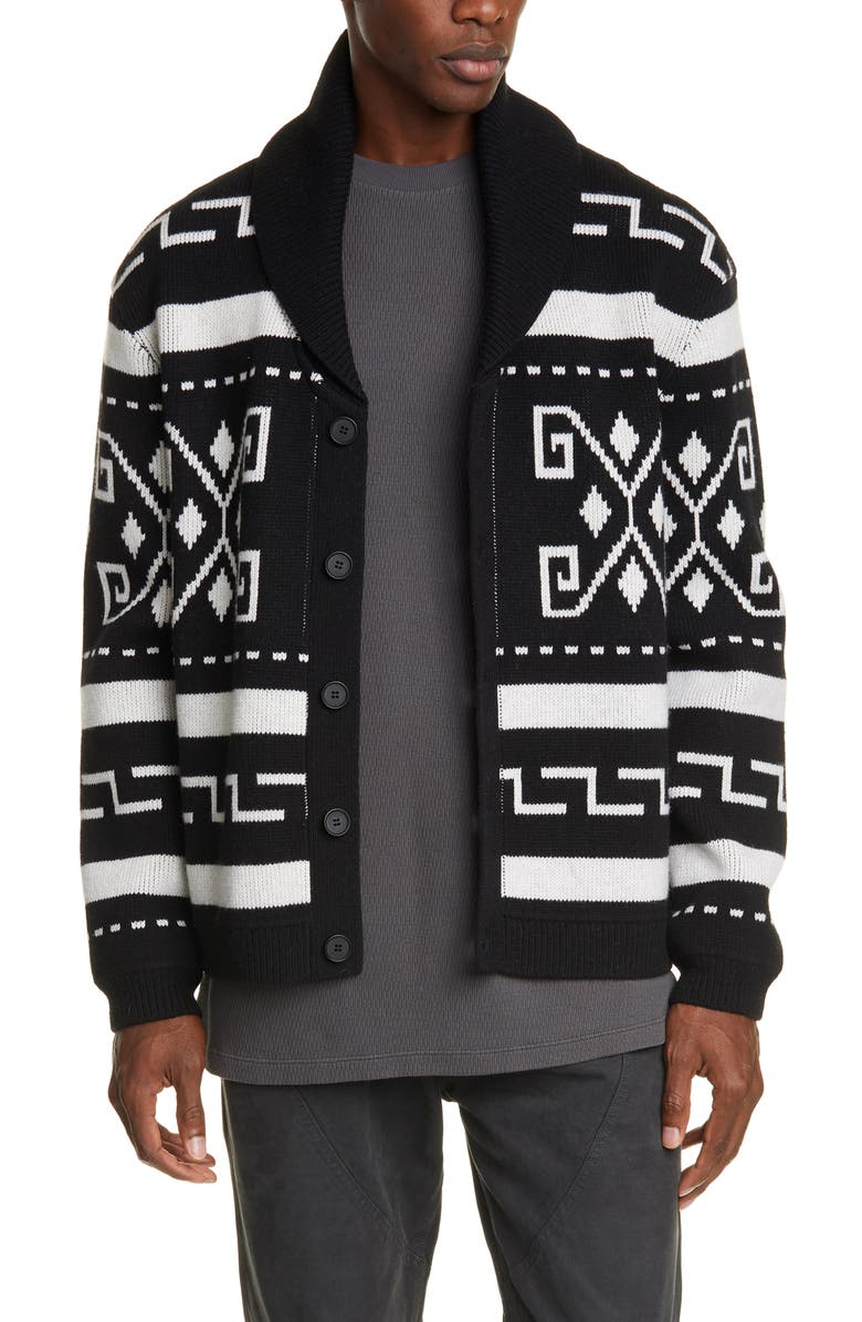 BILLY LOS ANGELES Shawl Collar Cardigan, Main, color, BLACK/DUSTY WHITE