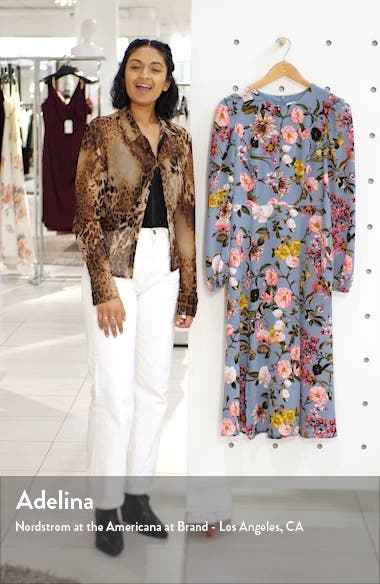 Floral Print Long Sleeve Crepe Midi Dress, sales video thumbnail