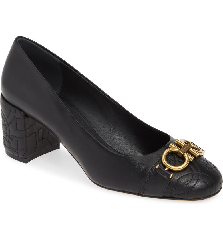 SALVATORE FERRAGAMO Garda Double Gancio Pump, Main, color, BLACK