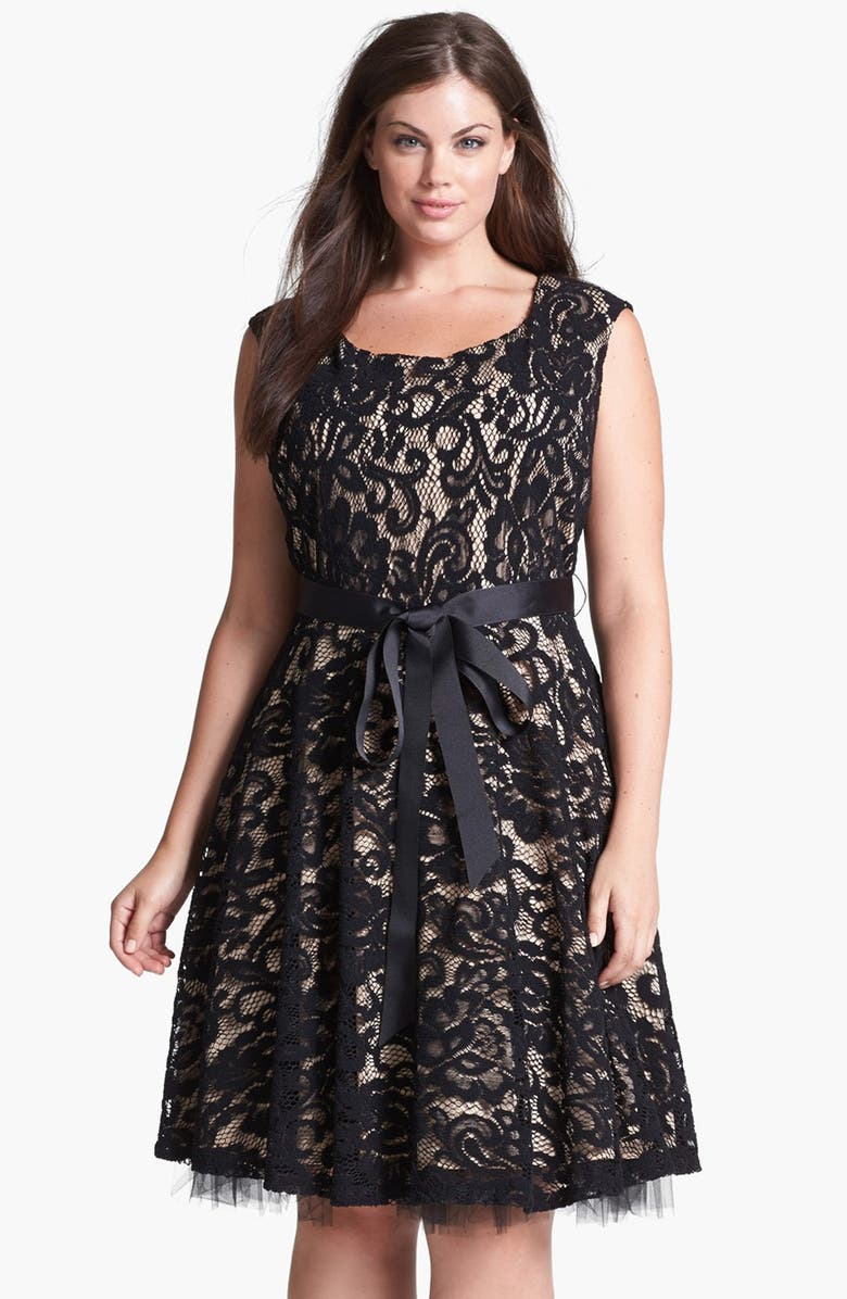BETSY & ADAM Lace Fit & Flare Dress, Main, color, 001
