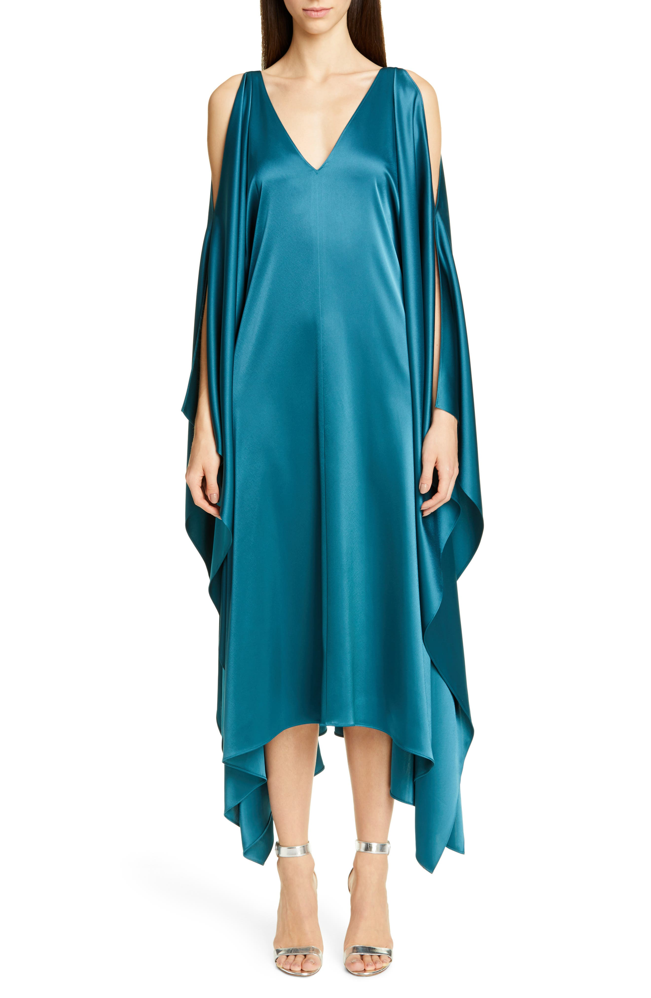 St. John Collection Lightweight Liquid Satin Cold Shoulder Midi Dress, Blue