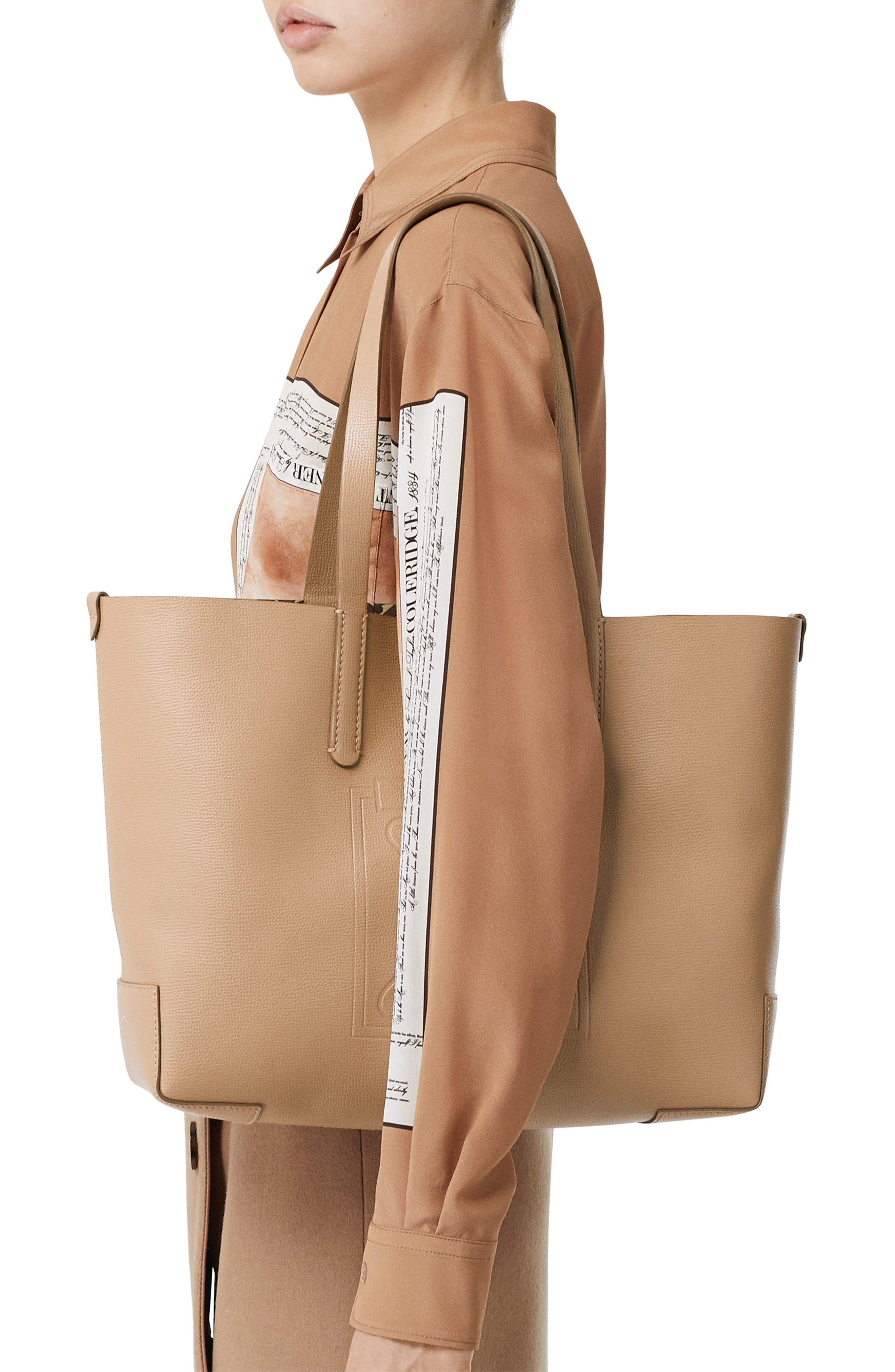 Burberry Totes Embossed Monogram Leather Tote