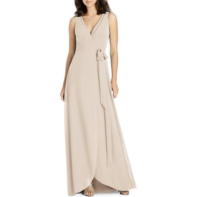 Jenny Packham Chiffon Wrap Evening Dress, Beige