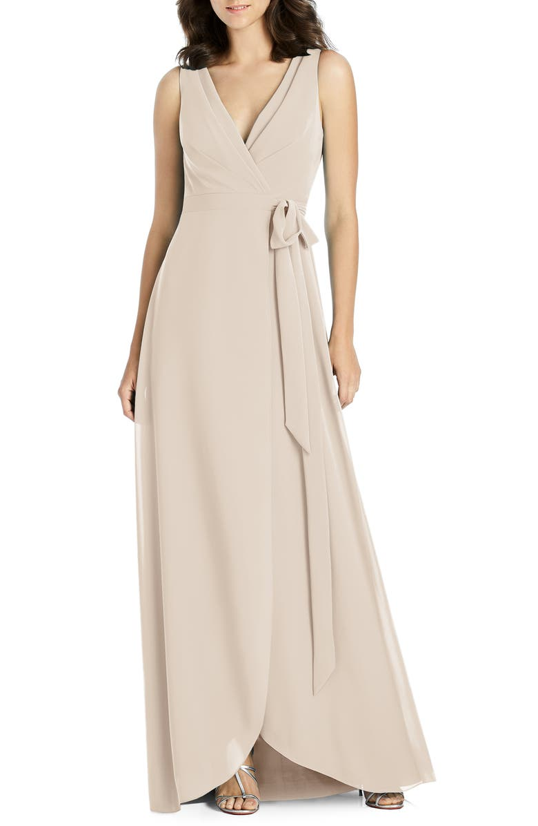 JENNY PACKHAM Chiffon Wrap Evening Dress, Main, color, CAMEO