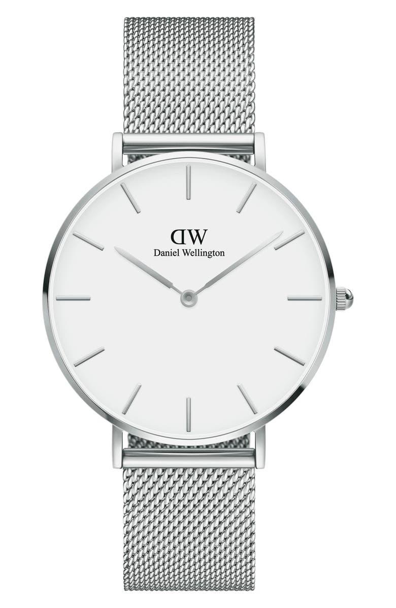 DANIEL WELLINGTON Petite Melrose Mesh Strap Watch, 36mm, Main, color, SILVER/ WHITE