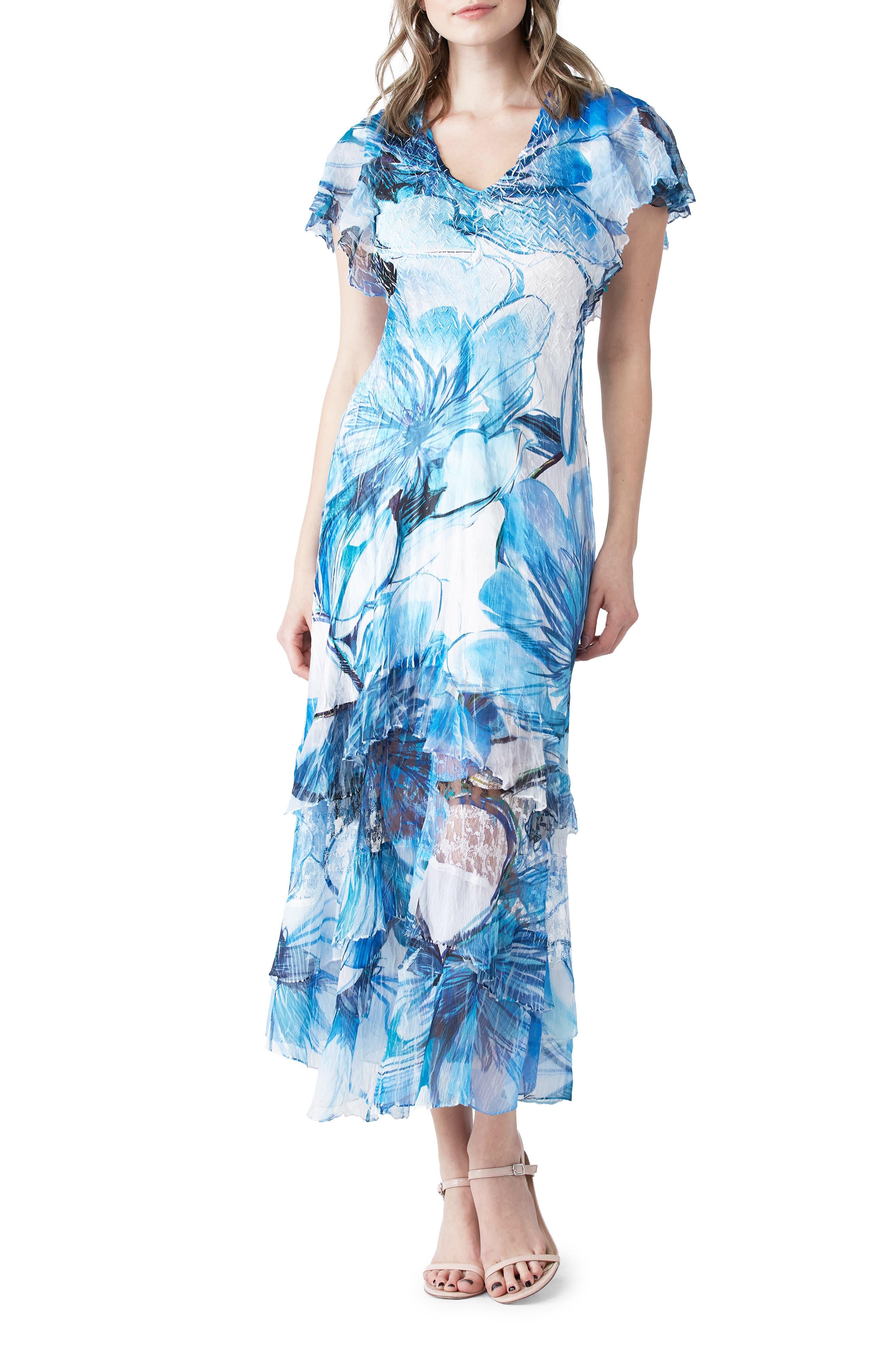 Floral Flutter Sleeve Charmeuse & Chiffon Dress