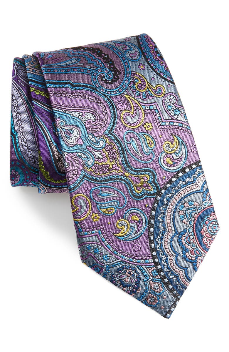 ERMENEGILDO ZEGNA Quindici Paisley Silk Tie, Main, color, PURPLE