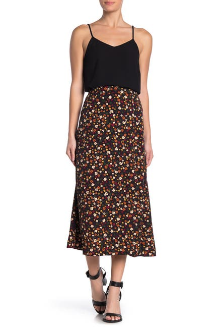 Image of Elodie Patterned Side Slit Midi Skirt