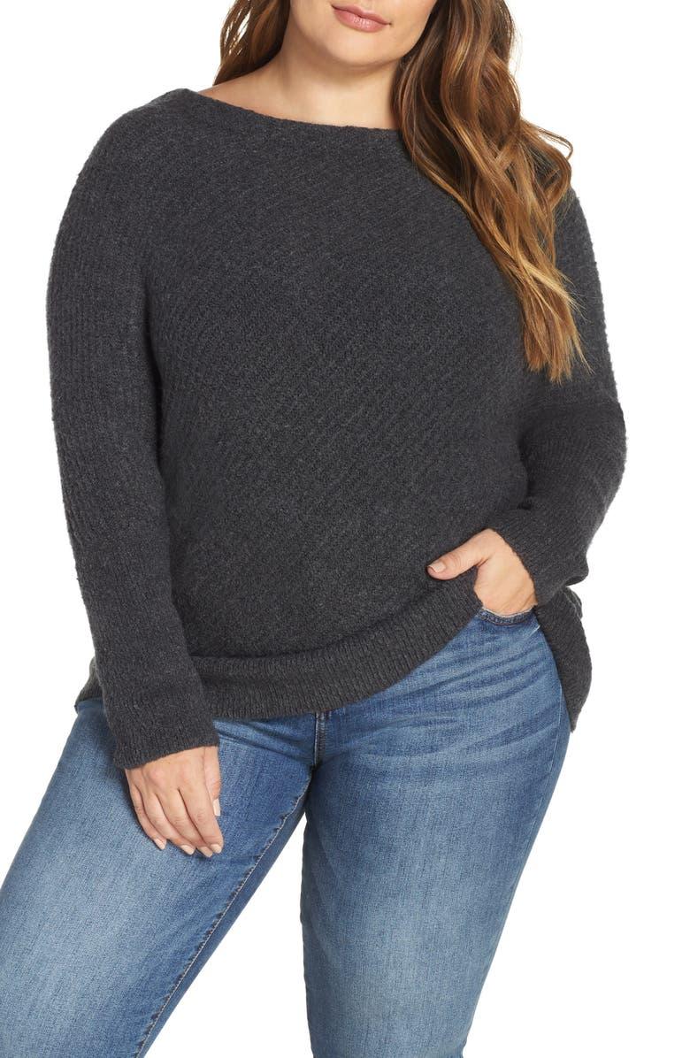 CASLON<SUP>®</SUP> Asymmetrical Rib Knit Sweater, Main, color, GREY DARK CHARCOAL HEATHER