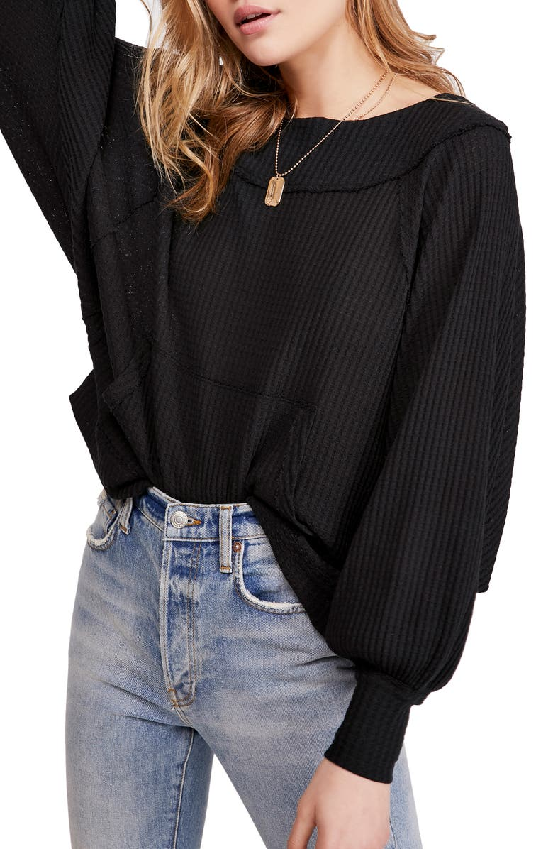 FREE PEOPLE Westend Thermal Top, Main, color, BLACK