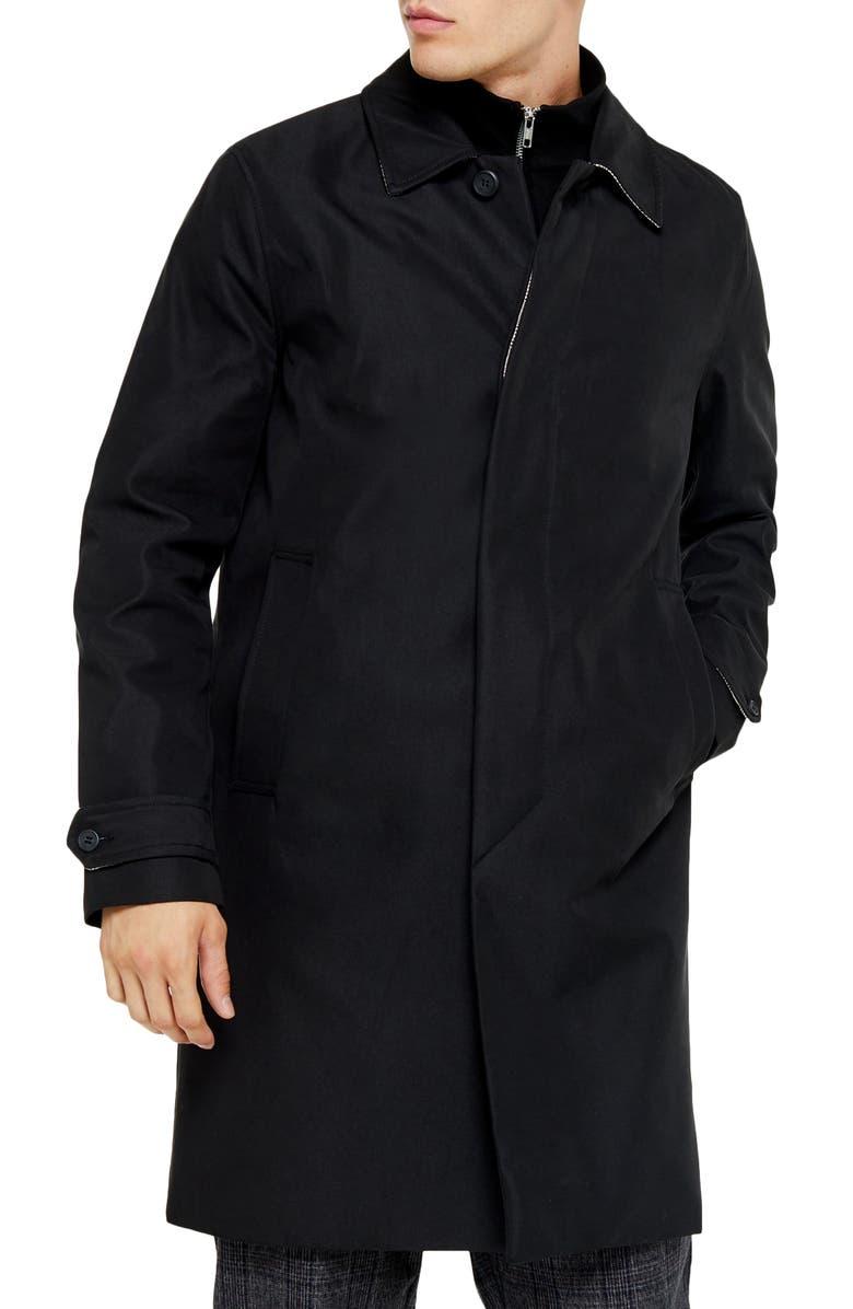 TOPMAN Fred Classic Fit Twill Car Coat, Main, color, BLACK