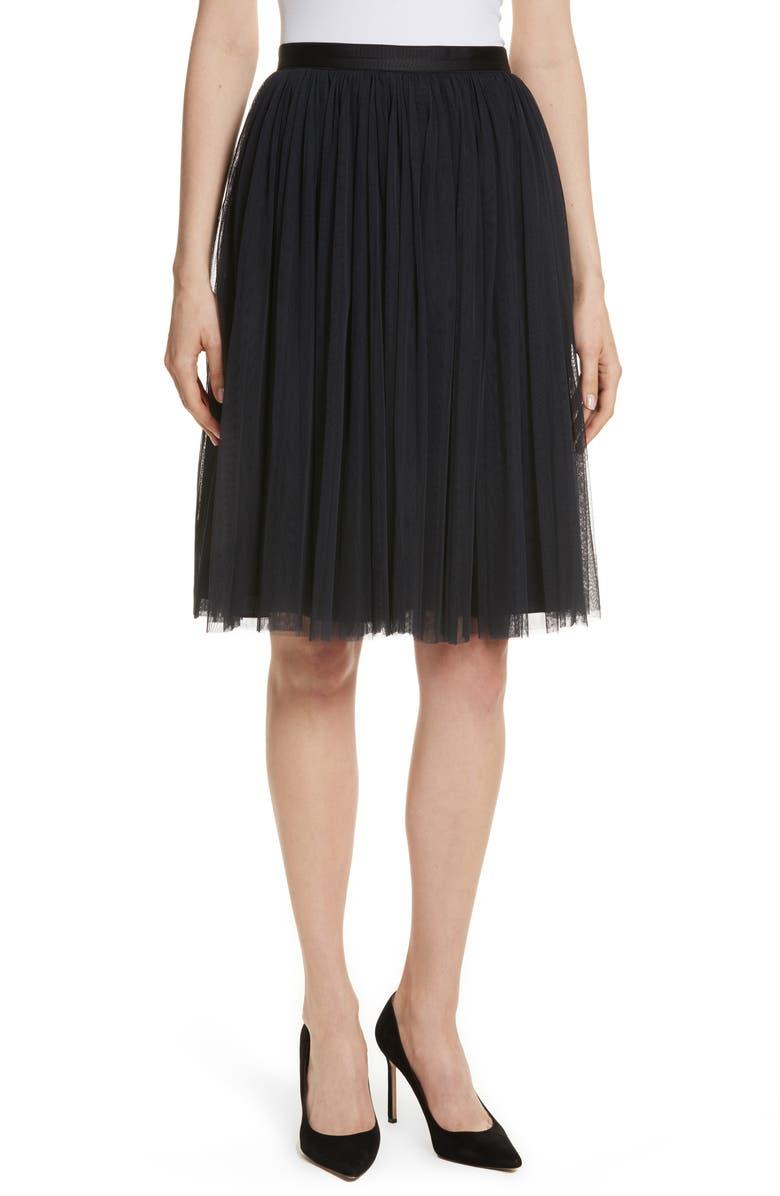 NEEDLE & THREAD Pleated Tulle Skirt, Main, color, 001