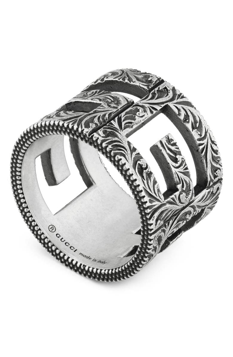 GUCCI G Cube Cigar Band, Main, color, STERLING SILVER