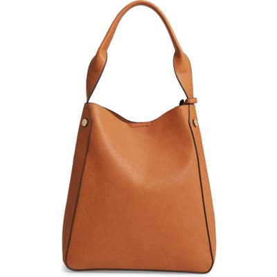 Sole Society Alani Faux Leather Shoulder Bag - Brown
