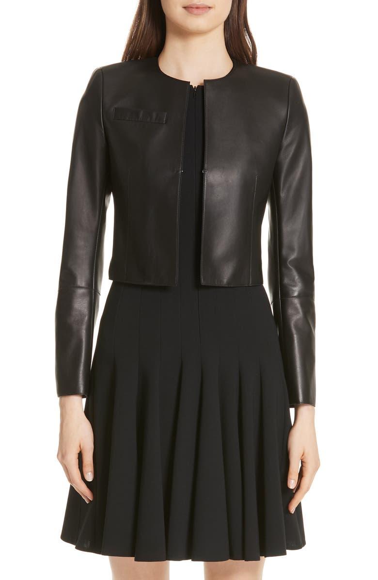 AKRIS 'Hasso' Leather Crop Jacket, Main, color, BLACK