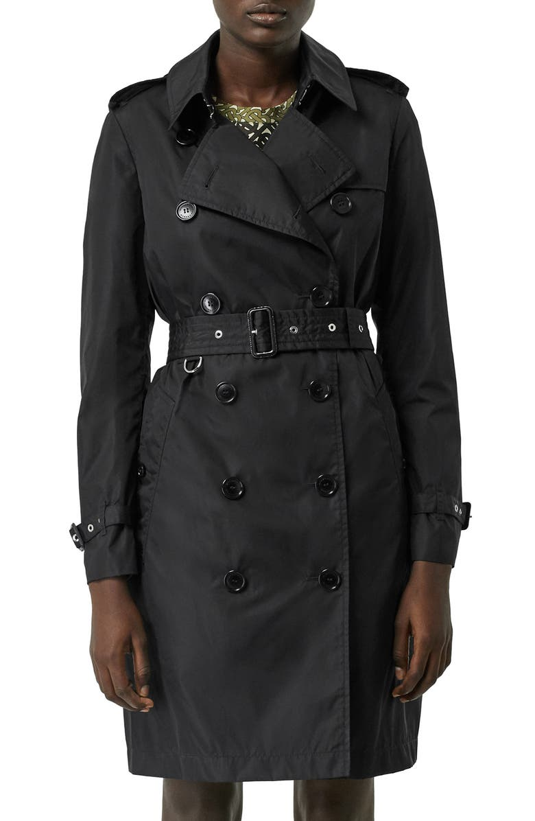 BURBERRY Kensington Trench Coat with Detachable Hood, Main, color, BLACK