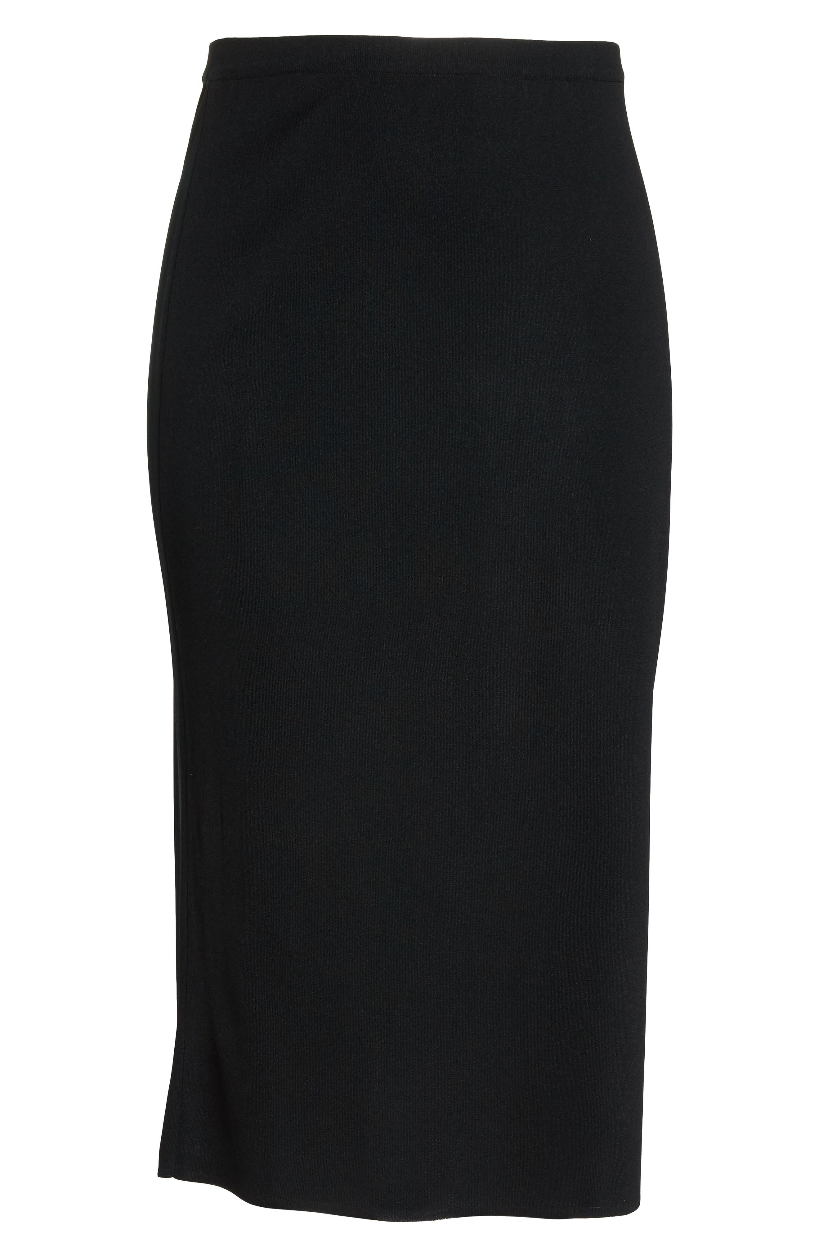 ,                             Knit Midi Skirt,                             Alternate thumbnail 6, color,                             BLACK