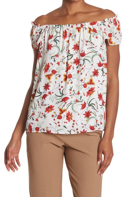 Image of CeCe by Cynthia Steffe Marrakesh Floral Flutter Sleeve Top