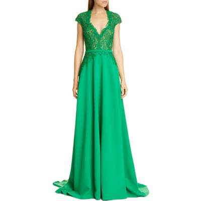 Pamella Roland Sequin & Flower Embellished Stretch Crepe Gown, Green
