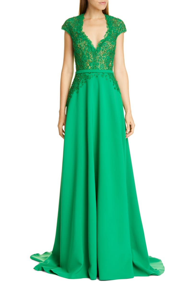 PAMELLA ROLAND Sequin & Flower Embellished Stretch Crepe Gown, Main, color, JADE