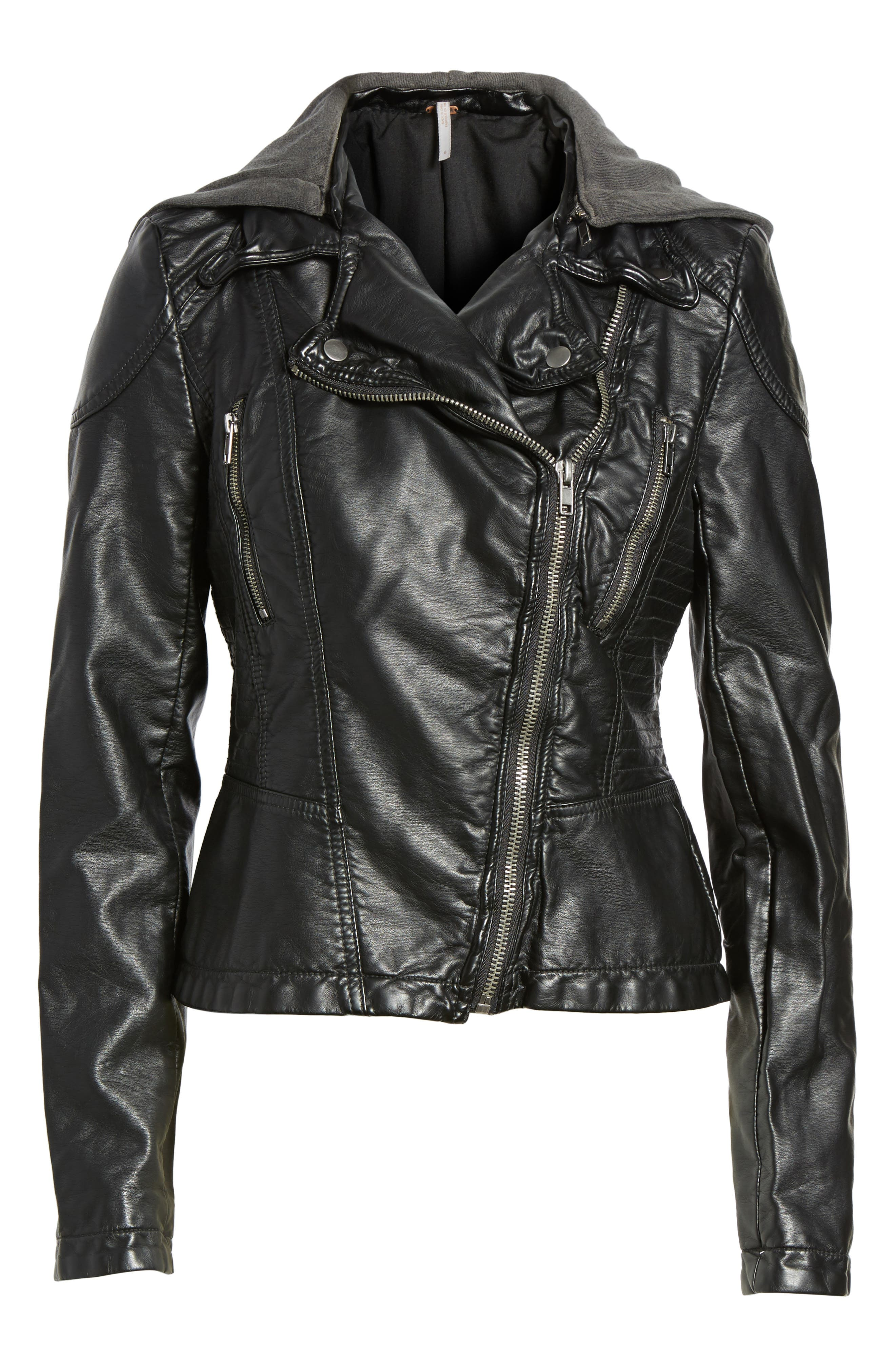 ,                             Hooded Faux Leather Moto Jacket,                             Main thumbnail 1, color,                             001