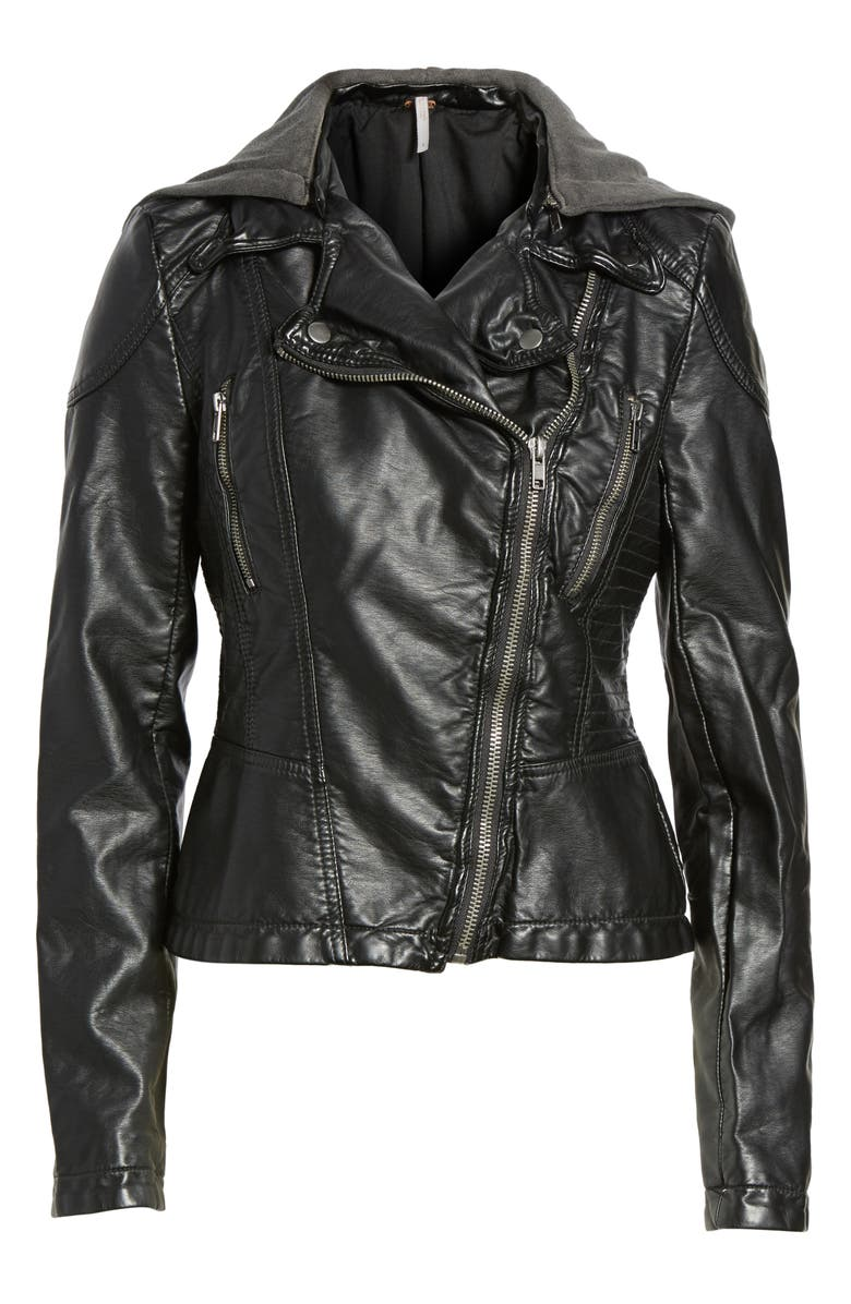 FREE PEOPLE Hooded Faux Leather Moto Jacket, Main, color, 001