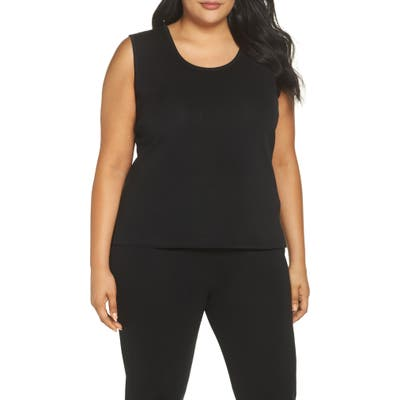 Plus Size Ming Wang Knit Tank, Black
