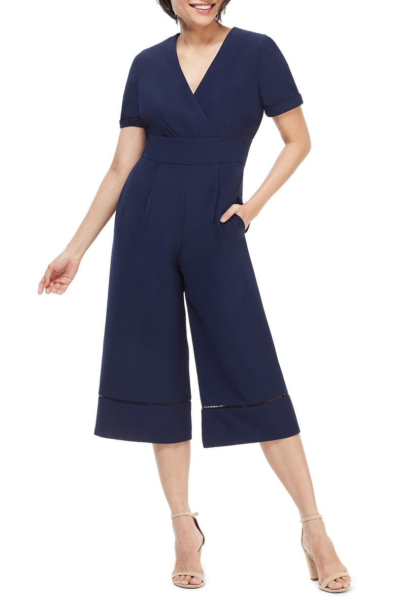 MAGGY LONDON Becca Crop Jumpsuit, Main, color, NAVY