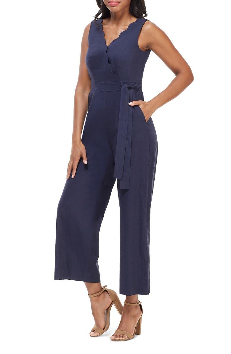 MAGGY LONDON Maragriet Wrap Linen Jumpsuit, Main, color, NAVY