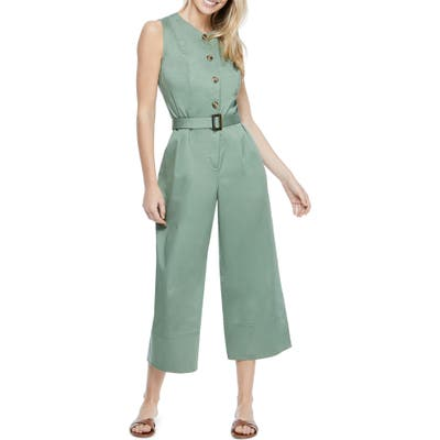 Gal Meets Glam Collection Belted Cotton Jumpsuit, Green
