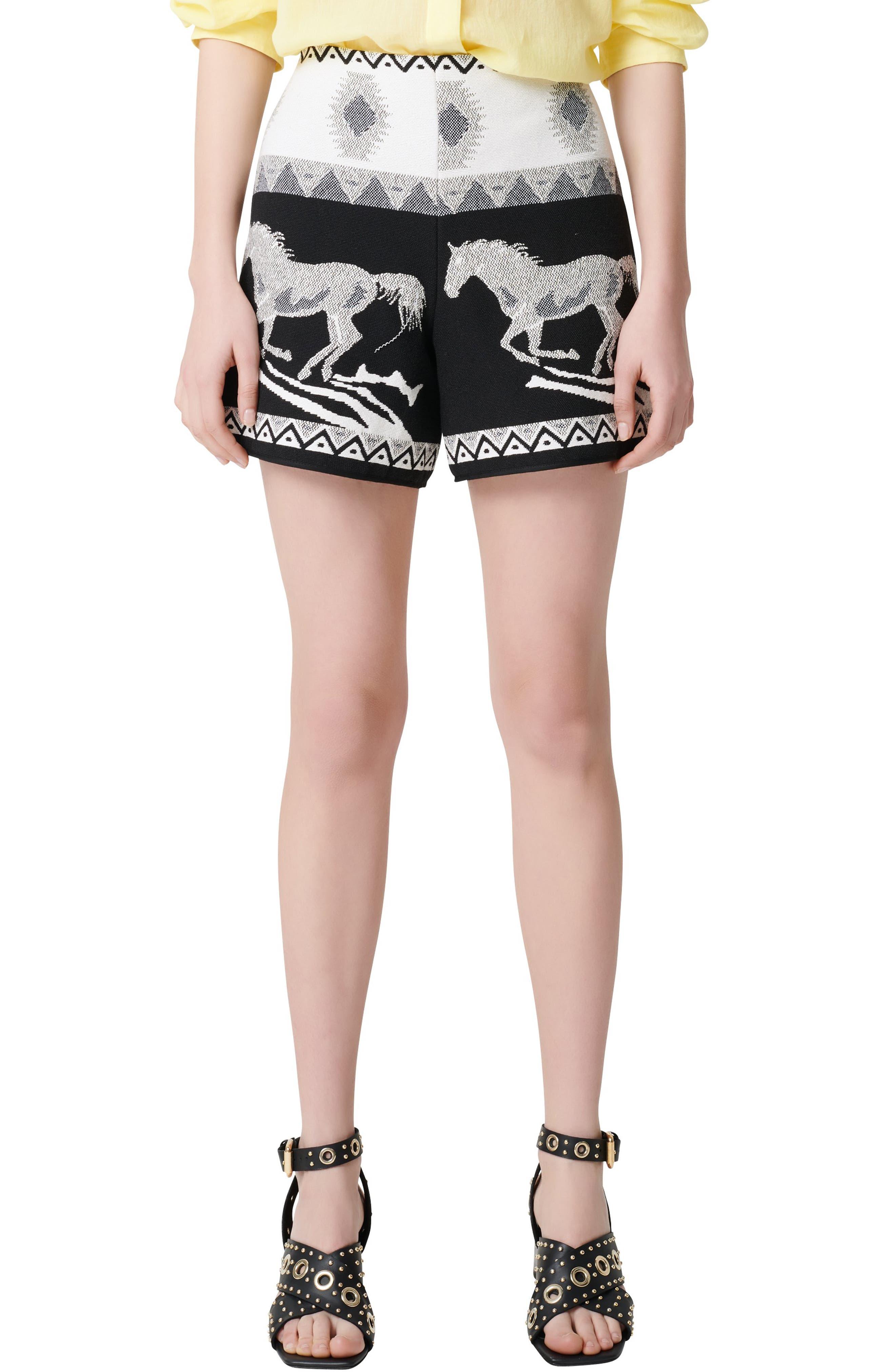 Women's Maje Ipi Horse Jacquard Shorts,  8 US / 40 FR - Black