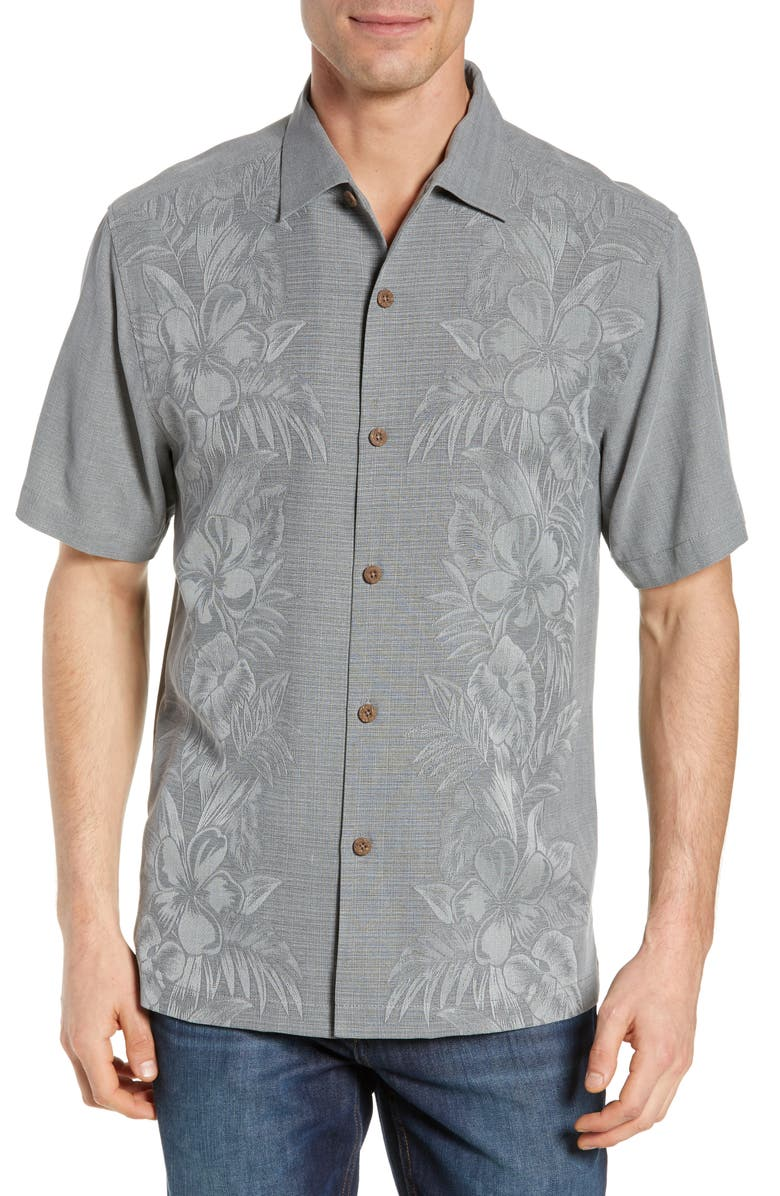 TOMMY BAHAMA Kamari Border Classic Fit Silk Camp Shirt, Main, color, SHADOW