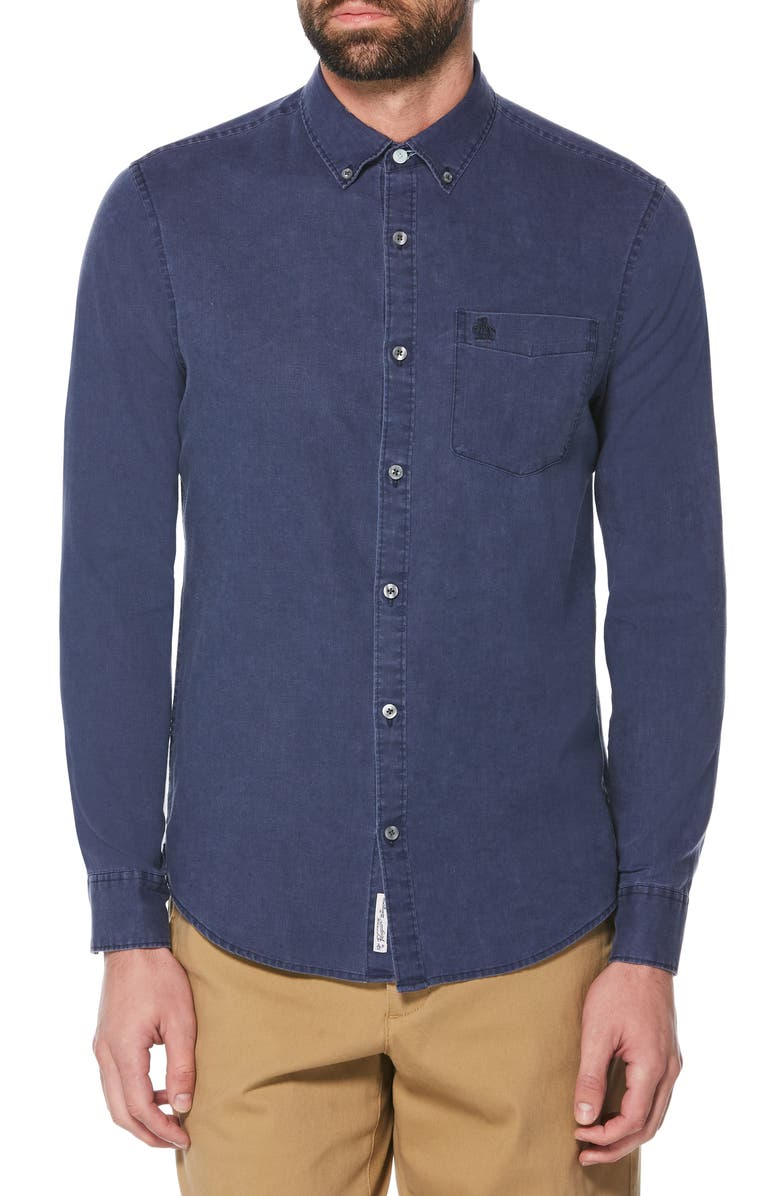 ORIGINAL PENGUIN Azudel Pigment Dye Shirt, Main, color, SARGASSO SEA