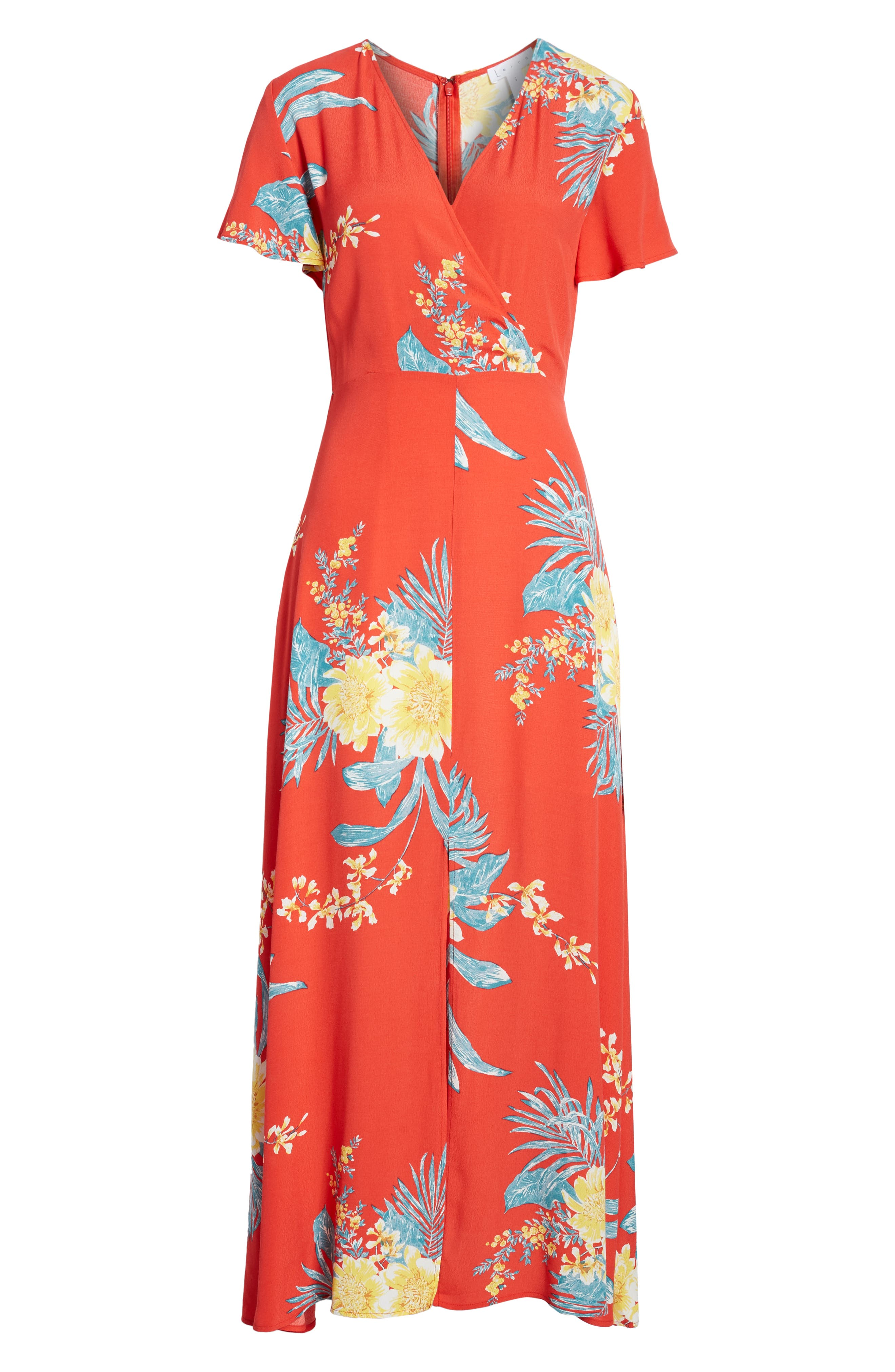 ,                             Surplice Maxi Dress,                             Alternate thumbnail 7, color,                             RED SCARLET ILLUSTRATED FLORAL