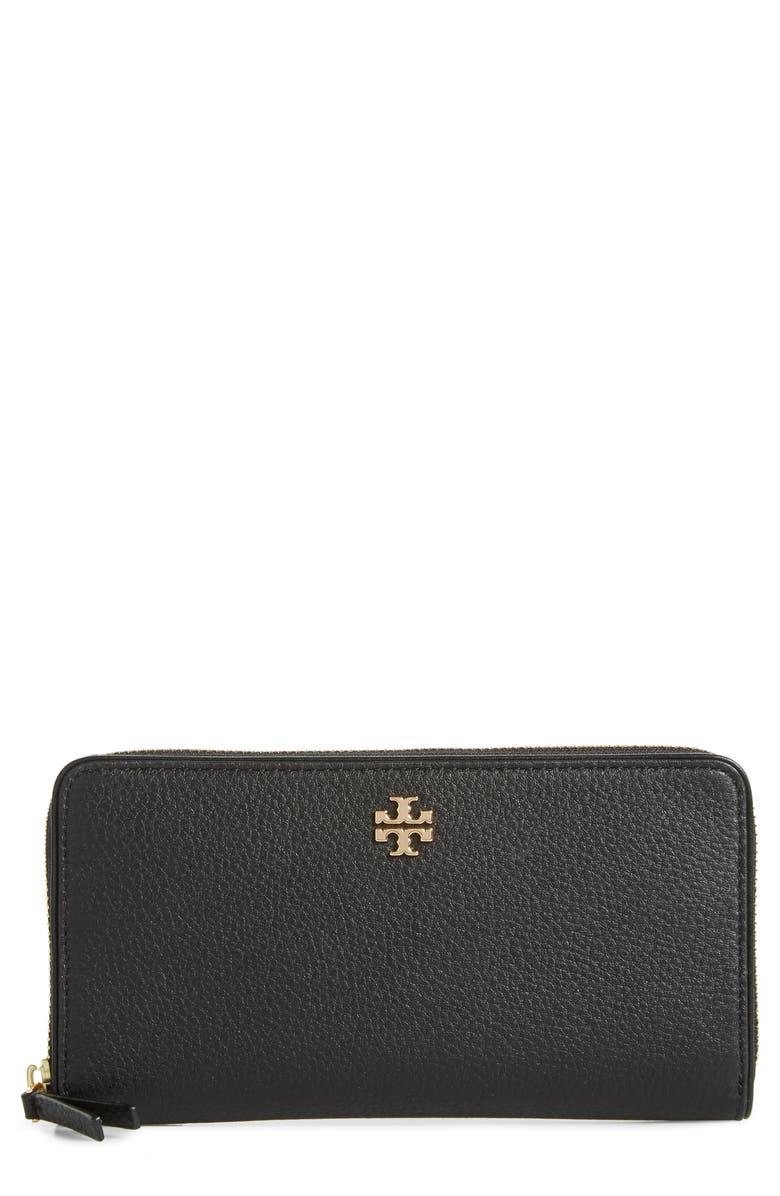 TORY BURCH Marsden Leather Zip Around Wallet, Main, color, 001