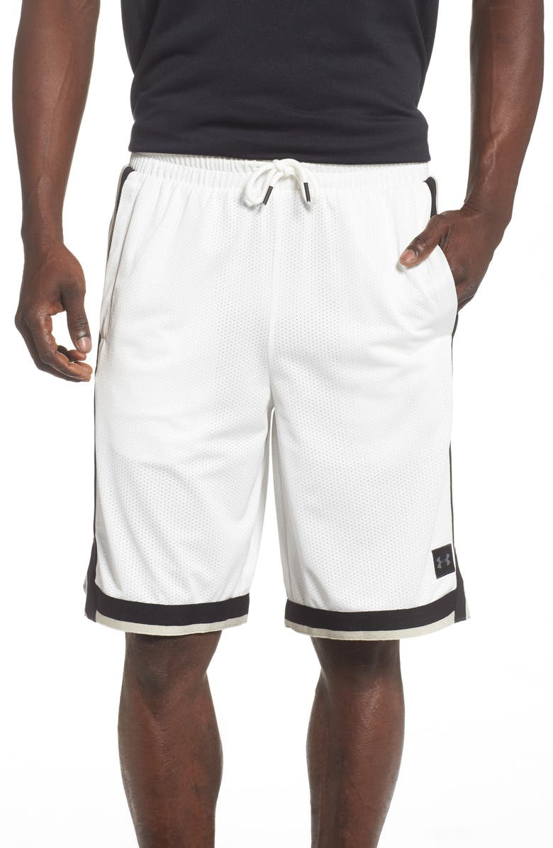 UNDER ARMOUR Sportstyle Mesh Shorts, Main, color, ONYX WHITE/ BLACK