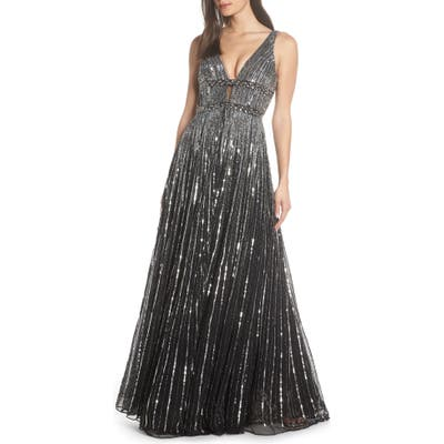 MAC Duggal Deep V-Neck Sequin Stripe Gown, Black