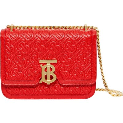 Burberry Small Tb Monogram Quilted Leather Bag - Red