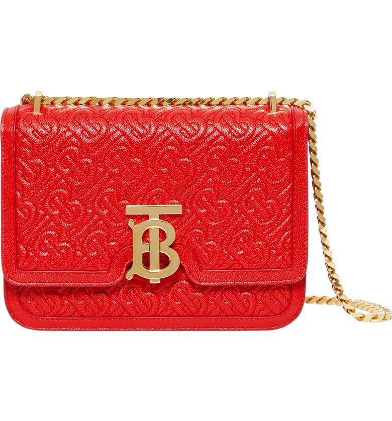 BURBERRY Small TB Monogram Quilted Leather Bag, Main, color, BRIGHT RED